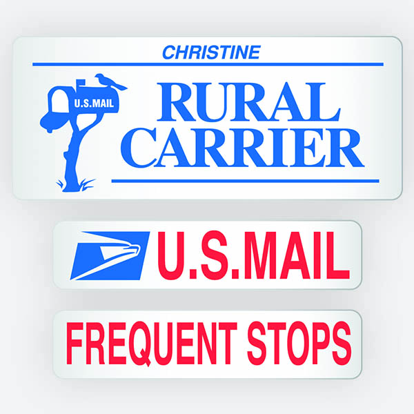 3 Magnetic Signs Rural Carrier With Your Name Available